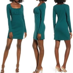 Leith   Green Empire Waist Long Sleeve Mini Dress